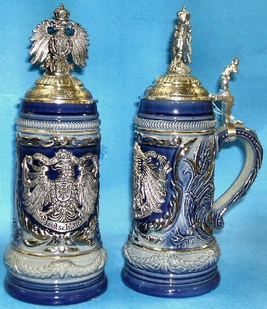 LE Blue German Beer Stein with Pewter Eagle